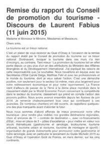thumbnail of Remise du rapport du Conseil de promotion du tourisme