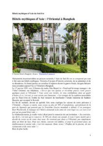 thumbnail of Tourisme – Hôtels mythiques d'Asie
